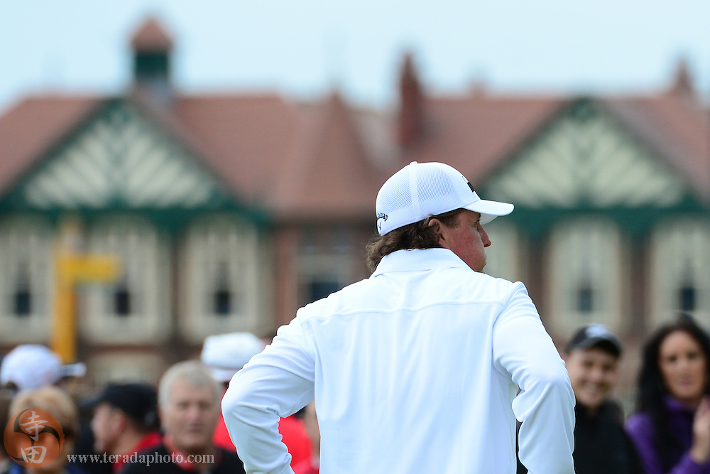 July 20, 2012; St. Annes, ENGLAND; Phil Mickelson reacts after the 15th hole during the second round of the 2012 British Open Championship at Royal Lytham & St. Annes Golf Club.