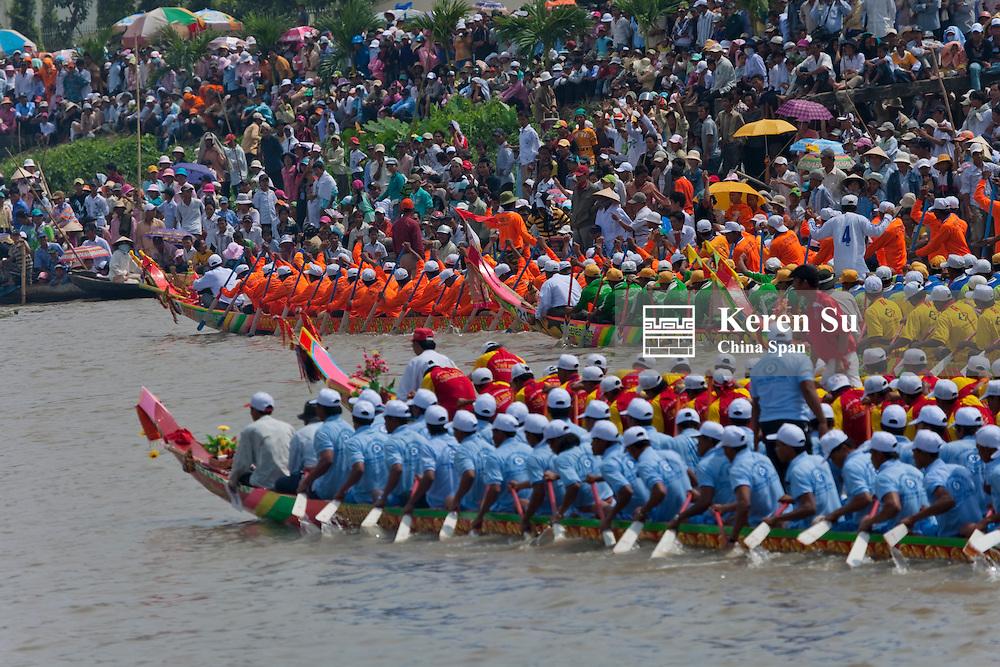 Ngo Boat Race celebrating Khmer people's new year festival, Ghe Ngo Festival, on Mekong River.