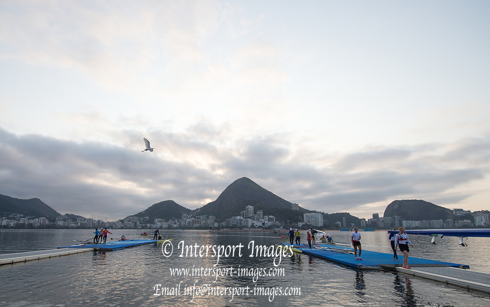 Rio de Janeiro. BRAZIL    Boating  General view of the boat park.and across the course.  2016 Olympic Rowing Regatta. Lagoa Stadium,<br /> Copacabana,  &ldquo;Olympic Summer Games&rdquo;<br /> Rodrigo de Freitas Lagoon, Lagoa. Local Time 07:09:05  Tuesday  09/08/2016<br /> [Mandatory Credit; Peter SPURRIER/Intersport Images]