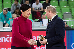 Nataša Šiško accepting the award from Joze Zidar in name of Polona Dornik, former basketball player at the 2017 Slovenia Hall of Fame induction ceremony during basketball match between KK Petrol Olimpija Ljubljana and Banvit B.K. in Round #8 of Basketball Champions League 2017/18, on December 19, 2017 in Arena Stozice, Ljubljana, Slovenia. Photo by Vid Ponikvar / Sportida
