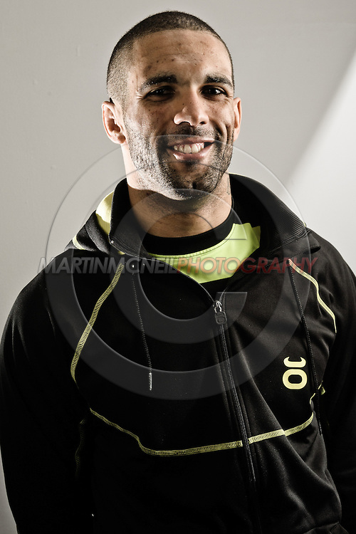 """NOTTINGHAM, ENGLAND, SEPTEMBER 27, 2012: A portrait of Che Mills as taken at the pre-fight press conference ahead of """"UFC on Fuel TV: Struve vs. Miocic"""" inside the Hilton Hotel in Nottingham , United Kingdom on Thursday, Septermber 27, 2012 © Martin McNeil"""
