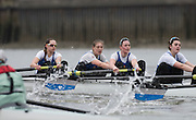 Putney, Great Britain.  CUBC, left during the 2015 Pre Boat Race Fixture, Cambridge University Women's Boat Club vs Imperial College Women's Boat Club, Championship Course, River Thames.  England. <br /> {DOW{  {DATE}<br /> <br /> [Mandatory Credit; Peter Spurrier/Intersport-images]<br /> Crews:  ICBC:<br /> left to right; Bow Sara PARFETT, 2. Jo THOM, 3. Victoria WATTS, 4. Georgina FRANCIS,