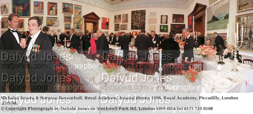 Nicholas Serota &amp; Norman Rosenthall. Royal Academy Annual dinner 1998. Royal Academy, Piccadilly, London W1. 27/5/98. <br />&copy; Copyright Photograph by Dafydd Jones<br />66 Stockwell Park Rd. London SW9 0DA<br />Tel 0171 733 0108