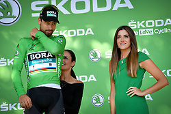 July 22, 2018 - Mende, FRANCE - Slovak Peter Sagan of Bora-Hansgrohe celebrates on the podium in the green jersey of leader in the sprint ranking after the 15th stage in the 105th edition of the Tour de France cycling race, from Millau to Carcassone (181,5km), France, Sunday 22 July 2018. This year's Tour de France takes place from July 7th to July 29th. BELGA PHOTO DAVID STOCKMAN (Credit Image: © David Stockman/Belga via ZUMA Press)