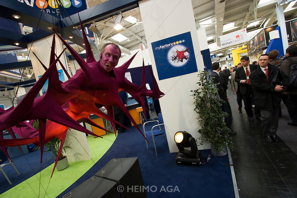 CeBit in Hannover/Lower Saxony is the the world's biggest annual IT fair..Caught in the Net: myfactory.