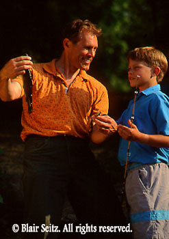 Fishing, Pennsylvania Outdoor recreation, Fishing Father Fishing with Children, Father and Son Catch Bass on PA Lake