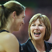 Silver Ferns coach Ruth Aitken, (right) during her final test on New Zealand soil with Irene van Dyk, playing in her 200th test match during the New Zealand V England, New World International Netball Series, at the ILT Velodrome, Invercargill, New Zealand. 6th October 2011. Photo Tim Clayton...