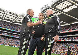 Mayo's managment team of Michael Collins Noel Connolly and Pat Holmes  after the final whistle of the All Ireland Semi-final on sunday last.<br /> Pic Conor McKeown