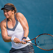 August 20, 2016, New Haven, Connecticut: <br /> Julia Elbaba in action during a US Open National Playoffs match at the 2016 Connecticut Open at the Yale University Tennis Center on Saturday, August  20, 2016 in New Haven, Connecticut. <br /> (Photo by Billie Weiss/Connecticut Open)