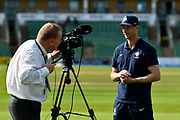Adam Vogues of Middlesex doing a TV interview after the close of play in the Specsavers County Champ Div 1 match between Somerset County Cricket Club and Middlesex County Cricket Club at the Cooper Associates County Ground, Taunton, United Kingdom on 28 September 2017. Photo by Graham Hunt.