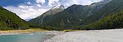 Panoramic view of Mount Aeolus and the Wilkins River, Mount Aspiring National Park, near Makarora, Otago, New Zealand.