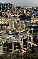 France. Paris. elevated view. Beaubourg museum and fhe forum des halles, view from Saint Eustache church bell tower
