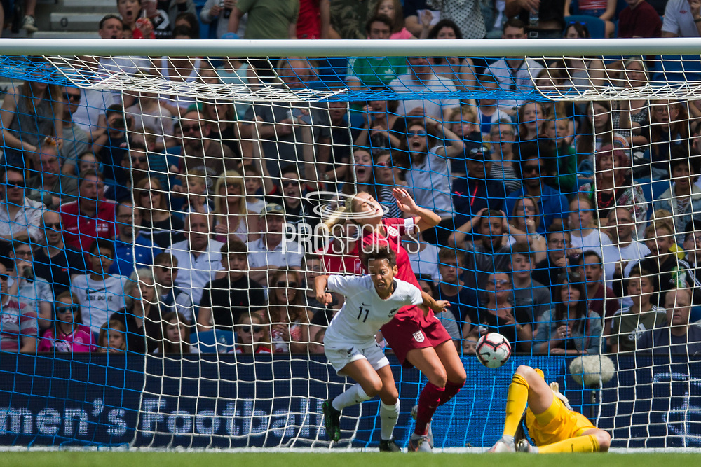 Sarah Gregorius (New Zealand) celebrates her goal during the FIFA Women's World Cup UEFA warm up match between England Women and New Zealand Women at the American Express Community Stadium, Brighton and Hove, England on 1 June 2019.