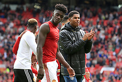 21 May 2017 - Premier League Football - Manchester United v Crystal Palace - Marcus Rashford of Manchester United takes the applause during the lap of appreciation as Axel Tuanzebe of Manchester United spits - Photo: Paul Roberts / Offside