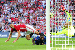 Zlatan Ibrahimovic of Manchester United scores a goal past Kasper Schmeichel of Leicester City to make it 1-2 - Rogan Thomson/JMP - 07/08/2016 - FOOTBALL - Wembley Stadium - London, England - Leicester City v Manchester United - The FA Community Shield.