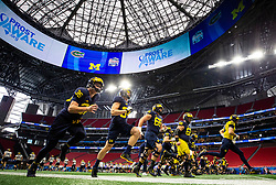 Michigan practice on Thursday, December 27, 2018 at the Mercedes Benz Stadium in Atlanta. Michigan will face Florida in the 2018 Peach Bowl on December 29, 2018. (Jason Parkhurst via Abell Images for the Chick-fil-A Peach Bowl)