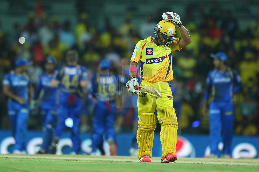 Pawan Negi of the Chennai Superkings departs during match 47 of the Pepsi IPL 2015 (Indian Premier League) between The Chennai Superkings and The Rajasthan Royals held at the M. A. Chidambaram Stadium, Chennai Stadium in Chennai, India on the 10th May 2015.<br /> <br /> Photo by:  Ron Gaunt / SPORTZPICS / IPL