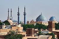 Iran, province de Yazd, Yazd, vue générale de la ville, mosquée du vendredi et badgirs, tours du vent // Iran, Yazd province, Yazd, Friday mosque, general view, badgirs or wind towers