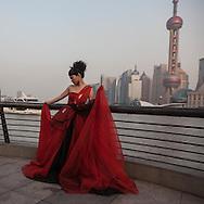 China, Shanghai. shooting chinese wedding on the Bund promenade