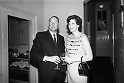 05/04/1966<br /> 04/05/1966<br /> 05 April 1966<br /> Presentation Awards for entries in the N.A.I.D.A. Parade at the Shelbourne Hotel, Dublin. Photo shows  Mr. and Mrs. Aidan Creedon, (Managing Director, Gypsum Industries Ltd.) at the event.