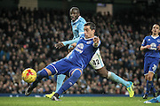 Ramiro Funes Mori (Everton) gets to the ball ahead of Yaya Touré (Manchester City) during the Capital One Cup semi-final match between Manchester City and Everton at the Etihad Stadium, Manchester, England on 27 January 2016. Photo by Mark P Doherty.