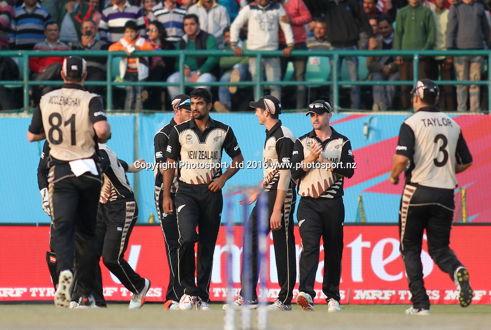 Ish Sodhi and Black caps celebrate during the World T20, 17th Match, Super 10 Group 2: Australia v New Zealand at Dharamsala, Mar 18, 2016, Copyright photo: www.photosport.nz