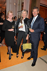 Left to right, JANETTE GREEN Brand Communications Director at Aston Martin, AMANDA WAKELEY and HUGH MORRISON at the Veuve Clicquot Business Woman Awards held at Claridge's, Brook Street, London on 11th May 2015.