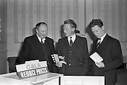 31/01/1962<br /> 01/31/1962<br /> 31 January 1962<br /> A.E.I. Gala Meetings for retailers at Jury's Hotel, Dublin. Mr. P.N. Walsh, Area Manager for Ireland (centre) and Mr. Des mcStay, Southern representative A.E.I. - Gala, (right) demonstrating they latest Refridgerator to Mr. J.J. Carroll, Hardware House, Listowel, Co. Kerry at the retailers meeting.