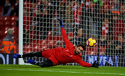 LIVERPOOL, ENGLAND - Saturday, December 29, 2018: Liverpool's goalkeeper Alisson Becker during the pre-match warm-up before the FA Premier League match between Liverpool FC and Arsenal FC at Anfield. (Pic by David Rawcliffe/Propaganda)
