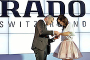 (R) Agnieszka Radwanska - new global brand Rado Ambassador and (L) Matthias Breschan President of Rado brand during press conference at the Uffcio Primo Club in Warsaw on April 30, 2014.<br /> <br /> Poland, Warsaw, April 30, 2014<br /> <br /> Picture also available in RAW (NEF) or TIFF format on special request.<br /> <br /> For editorial use only. Any commercial or promotional use requires permission.<br /> <br /> Mandatory credit:<br /> Photo by &copy; Adam Nurkiewicz / Mediasport