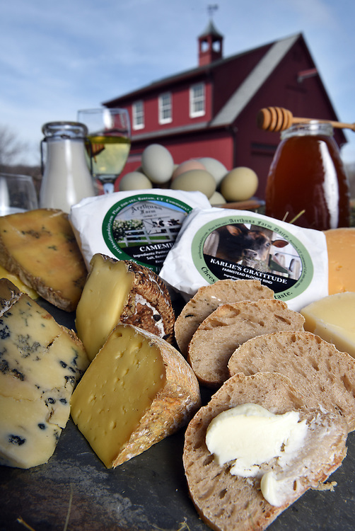 Mara Lavitt  March 31, 2016<br /> Eggs, honey and vegetables courtesy Cranberry Meadow Farm, East Lyme. Yogurt, farmer's cheese with chives, butter and cheeses courtesy of Arethusa Farm Dairy, Litchfield. Cato Corner cheeses from Fromage Fine Foods, Old Saybrook and Caseus, New Haven. Farmer's Cow milk. Bread from Chestnut Fine Foods, New Haven. Wine from Jonathan Edwards Winery, North Stonington. Photographed at Cranberry Meadow Farm, East Lyme.