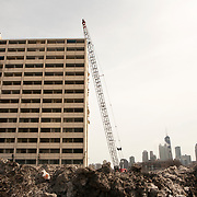 The CHA building at 1230 N. Burling where long time Cabrini Green resident Annie Ricks and her family lived is demolished March 31, 2011. The Ricks' were the last residents in the public housing building. Ricks moved on Thursday December 9, 2010.<br /> Photography by Jose More