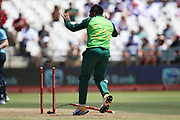Tabraiz Shamsi celebrates the run out of Joe Root during the One Day International match between South Africa and England at PPC Newlands, Capetown, South Africa on 4 February 2020.