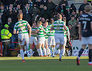 26th December 2017, Dens Park, Dundee, Scotland; Scottish Premier League football, Dundee versus Celtic; Celtic's James Forrest is congratulated after scoring for 1-0 by Celtic's Kieran Tierney