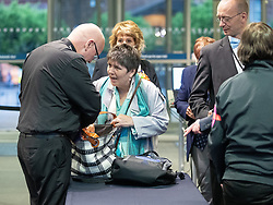 © Licensed to London News Pictures . 26/05/2019. Manchester, UK. Brexit Party's CLAIRE FOX arrives and has her bags searched by security . The count for seats in the constituency of North West England in the European Parliamentary election , at Manchester Central convention centre . Photo credit: Joel Goodman/LNP