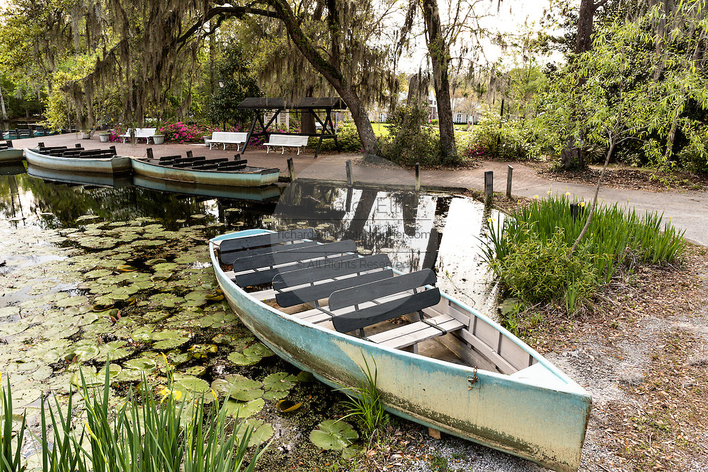 Rowboat in the blackwater bald cypress and tupelo swamp during spring at Cypress Gardens April 9, 2014 in Moncks Corner, South Carolina.