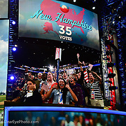 Members of the NH delegation are projected on the main screen as they casts all of NH's votes for Barak Obama at the2012 Democratic Convention.