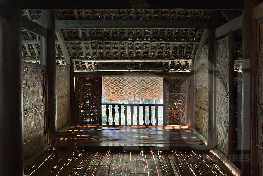Interior of a traditional Tay ethnic's house. Ethnology museum, Hanoi, Vietnam, Asia.