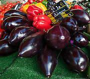 """Rennes, FRANCE. General View GV. Rennes weekly regional market. Brittany,<br /> <br /> """"Aubergine,Red,Green ad Yellow Peppers, Courgette, on display"""", sold from stalls in the open and covered market  <br /> <br /> Saturday  26/04/2014 <br /> <br /> © Peter SPURRIER, <br /> <br /> NIKON CORPORATION  NIKON D700  f7.1  1/80sec  24mm  3.9MB"""