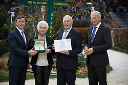 Joop and Maartje Hanse, (NED) breeders of Valegro (KWPN), (Negro - Maifleur x Gershwin) with Sien Korver,president KWPN. Receiving a Rolex watch from Mr. Laurent Delonney, Directeur adjoint Sponsoring<br /> WBSFH Prizegiving<br /> Genève 2015<br /> © Hippo Foto - Dirk Caremans<br /> 12/12/15