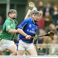 6 November 2005; Niall Gilligan, Munster, in action against John Tennyson, Leinster. M Donnelly Interprovincial Hurling Championship Final, Leinster v Munster, Irish Cultural Centre, Canton, Boston, United States of America. Picture credit: Brian Lawless / SPORTSFILE
