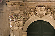 detail of Barroque Gate, S. Matteo Church, ecce Province, Puglia, Italy.