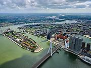 Nederland, Zuid-Holland, Rotterdam, 14-05-2020; Noordereiland in de Nieuwe Maas en Erasmusbrug. Rechts gebouw De Rotterdam op Wilhelminakade (Kop van Zuid). Feijenoord, Rotterdam-Zuid.<br /> Noordereiland in the Nieuwe Maas and Erasmus Bridge. On the right building De Rotterdam on Wilhelminakade (Kop van Zuid).<br /> <br /> luchtfoto (toeslag op standard tarieven);<br /> aerial photo (additional fee required)<br /> copyright © 2020 foto/photo Siebe Swart
