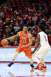 21 November 2015: Caleb Crayton(11) makes a move to get past Paris Lee(1). Illinois State Redbirds host the Houston Baptist Huskies at Redbird Arena in Normal Illinois (Photo by Alan Look)