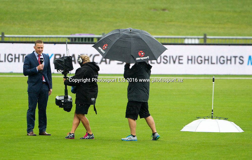 Sky TV do a pitch report as the rain settles in at McLean Park, ODI Cricket, Black Caps v Pakistan, McLean Park, Napier, New Zealand. Thursday, 28 January, 2016. Copyright photo: John Cowpland / www.photosport.nz
