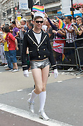 LGBT Pride Parade <br /> in Central London, Great Britain <br /> 2nd July 2011 <br /> <br /> Pride 2011 <br /> <br /> colour and atmosphere, floats, audience, people marching, and entertainment in Trafalgar Square. <br /> <br /> <br /> <br /> <br /> <br /> Photograph by Elliott Franks