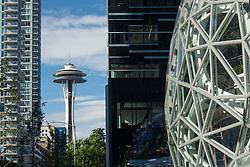 United States, Washington, Seattle, Space Needle and edge of Amazon Biosphere