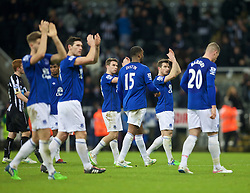 NEWCASTLE-UPON-TYNE, ENGLAND - Sunday, December 28, 2014: Everton's Leighton Baines applauds the travelling supporters after the 3-2 defeat to Newcastle United during the Premier League match at St. James' Park. (Pic by David Rawcliffe/Propaganda)