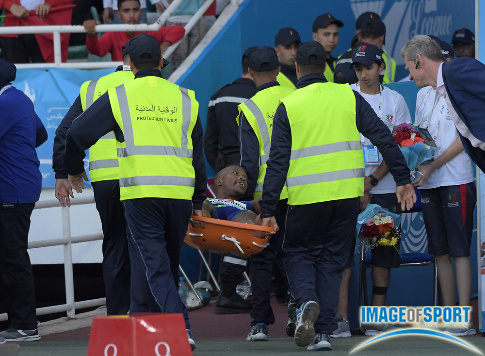 Jun 16, 2019; Rabat, Morocco; Luvo Manyonga (RSA) is taken off the track on a stretcher with a left ankle injury after placing second in the long jump at 26-11 1/4 (8.21m) during the Meeting International Mohammed VI d'Athletisme de Rabat at Prince Moulay Abdellah Stadium.