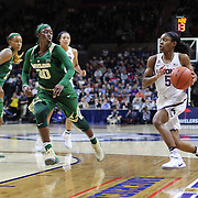 STORRS, CONNECTICUT- NOVEMBER 17: Crystal Dangerfield #5 of the UConn Huskies drives to the basket defended by Alexis Jones #30 of the Baylor Bears<br /> during the UConn Huskies Vs Baylor Bears NCAA Women's Basketball game at Gampel Pavilion, on November 17th, 2016 in Storrs, Connecticut. (Photo by Tim Clayton/Corbis via Getty Images)